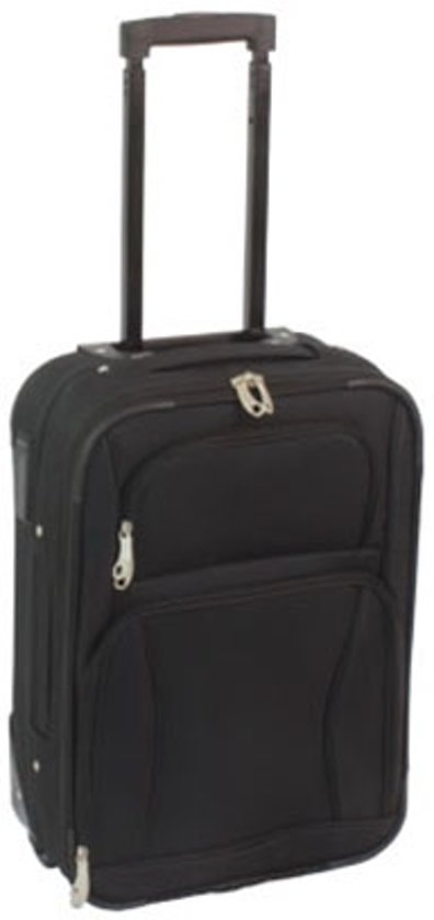 1d39a00de5f bol.com   Handbagage koffer zacht stof zwart 55cm met 2 wielen