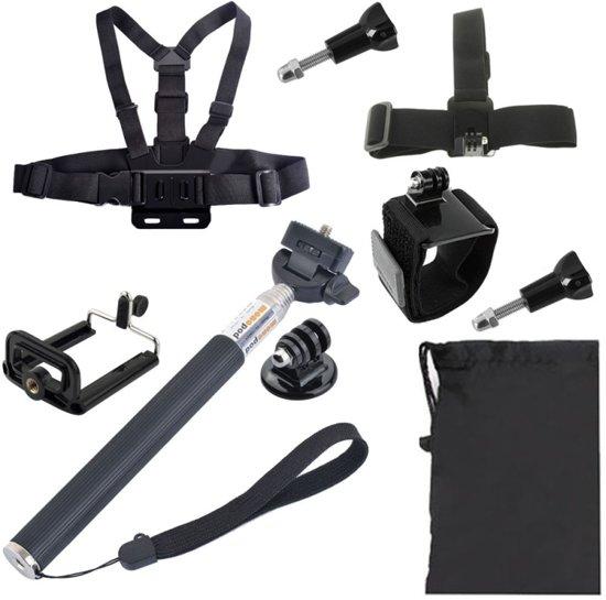 YKD-123 Borstgordel + Polsriem + Hoofdriem + Selfie Monopod + Telefoons Bevestiging + draagtas Set voor GoPro HERO4 / 3 + / 3/2/1 / SJ4000
