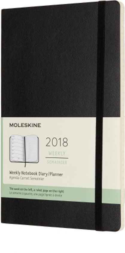 Moleskine 12 Months Weekly Notebook 2018 - Large - Black - Soft Cover
