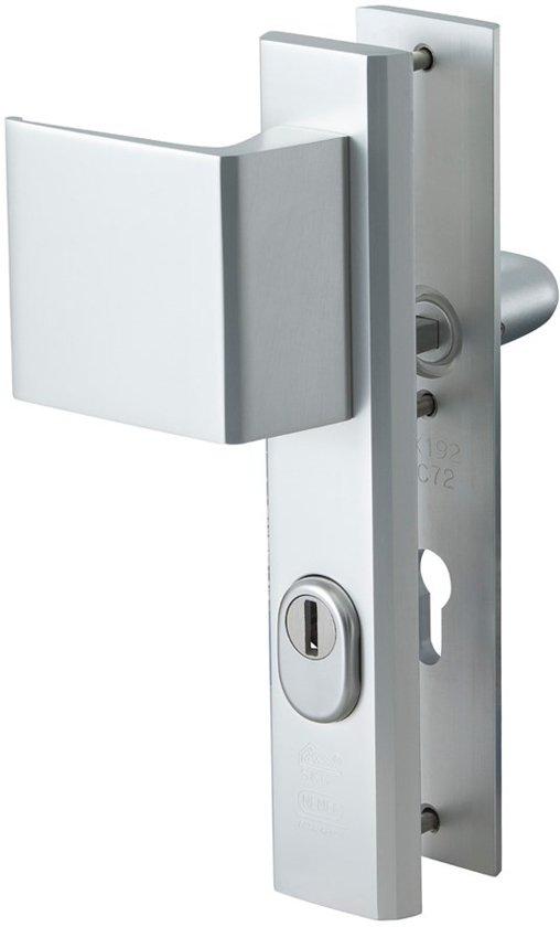 Nemef veiligheidsdeurbeslag 3419 - Greep/Kruk - Kerntrekbeveiliging - Afstand 72mm - SKG*** - RS - Aluminium