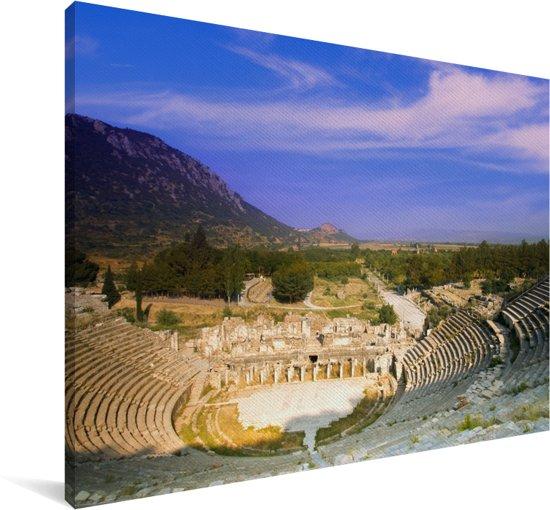 Oud theater van Efeze in Turkije Canvas 60x40 cm - Foto print op Canvas schilderij (Wanddecoratie woonkamer / slaapkamer)