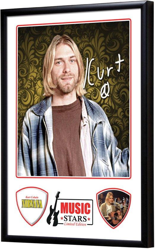 Plectrumdisplay Kurt Cobain ingelijst