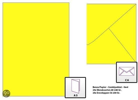 Benza Wenskaarten en Enveloppen om zelf wenskaarten te maken Langwerpig C6 - Geel (25 stuks)
