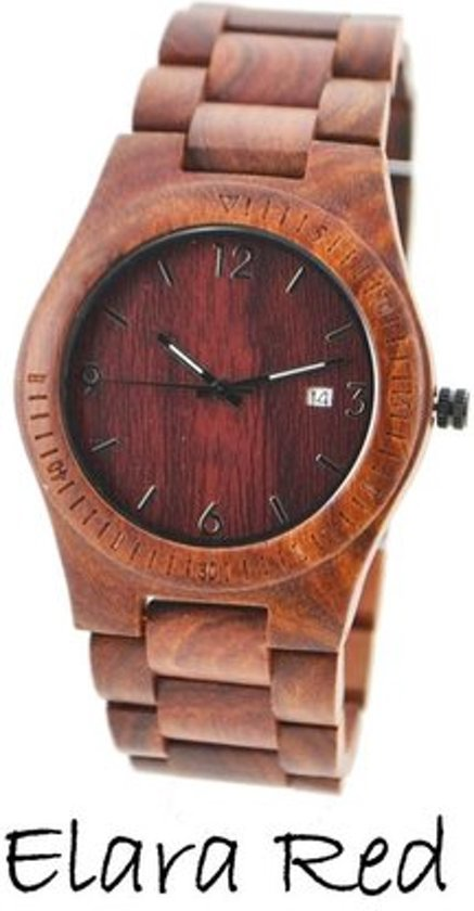 Houten horloge: Elara Red
