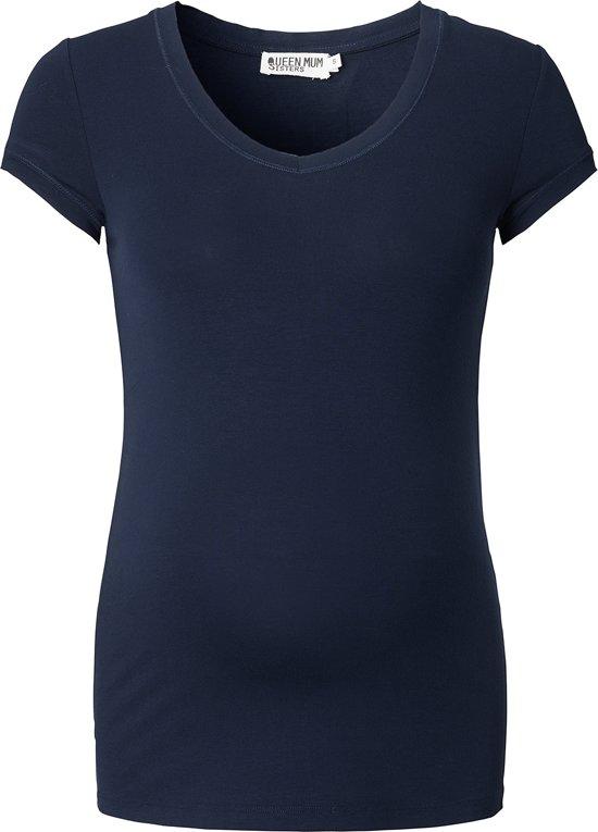 Queen Mum Zwangerschaps-t-shirt - Navy - Maat XL
