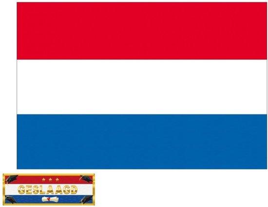 Luxe Nederlandse vlag voor geslaagd / afgestudeerd feestje - incl. gratis sticker
