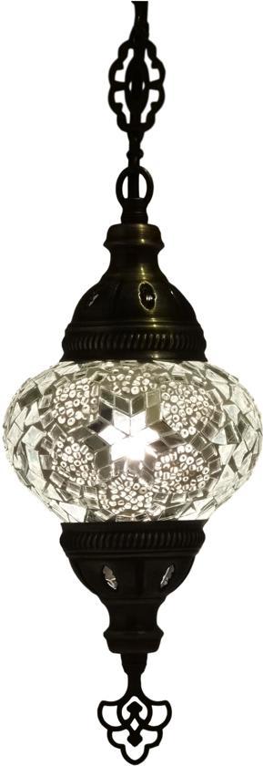 Oosterse mozaïek hanglamp (Turkse lamp) ø 13 cm wit