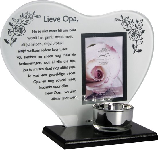 Waxinehouder In Memoriam Overleden Glas Hart Met Gedicht Lieve Opa