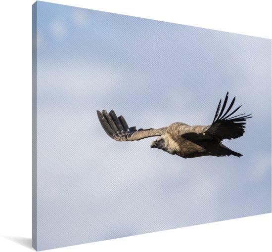 Vale gier vliegt onder een dicht wolkenveld Canvas 140x90 cm - Foto print op Canvas schilderij (Wanddecoratie woonkamer / slaapkamer)