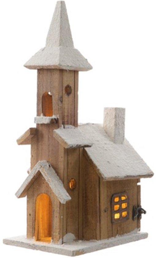 bol.com   Kerstdorp houten kerk met verlichting
