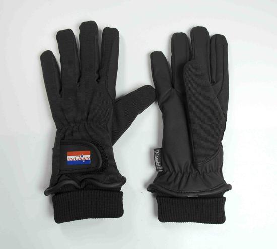 Winter Paardrijhandschoenen bruin/zwart met kunstlederen binnenzijde en stretch katoenen bovenzijde voor fijne pasvorm maat S HT5049