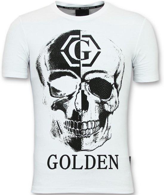 T Golden Wit Gate Shirts Heren MatenXl PrintRhinestone Tshirt With Skull vwOmN8n0