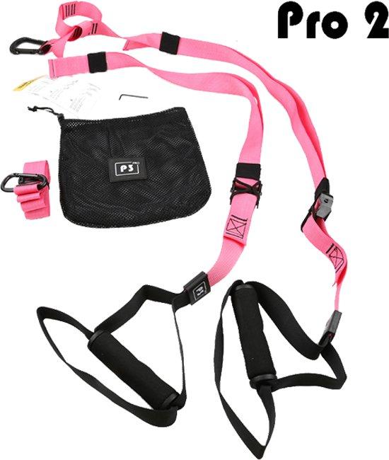 DW4Trading® Suspension trainer Pro2  fitness workout zwart/roze
