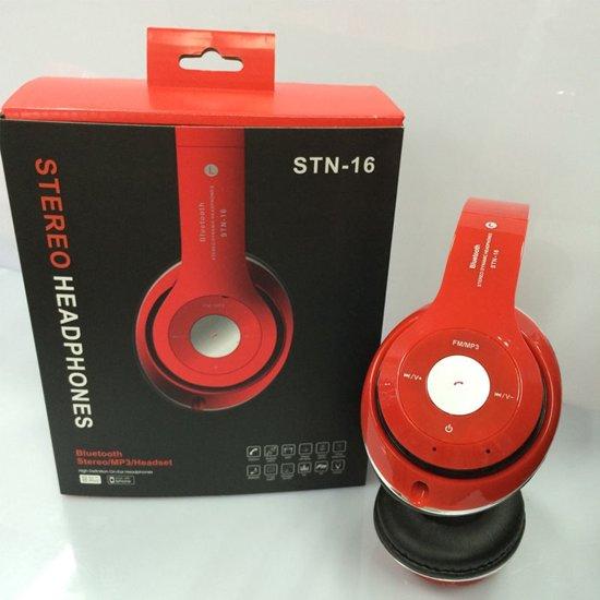 Wireless bluetooth headset STN16 Met Fm radio en Geheugen Poort rood