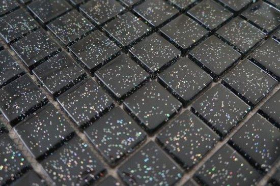 Glas Mozaiek Tegels : Bol mozaiek tegel glas zwart glitter