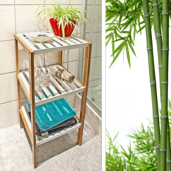 Badkamerkast Bamboe Hout Wit 3 Pl Badkamermeubel Open Kast Planken Badkamer