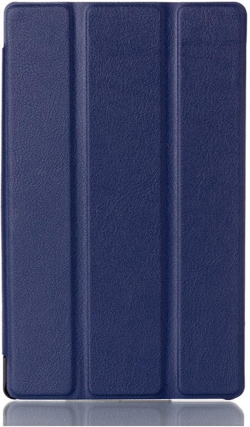 Shop4 - Lenovo Tab 3 7 Hoes - Smart Book Case Lychee Donker Blauw in Marle