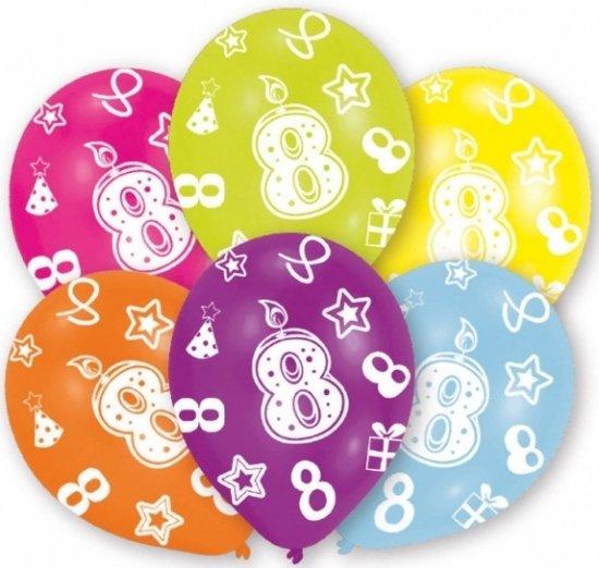 verjaardag 8 jaar bol.| 8 jaar leeftijd ballonnen 6 stuks   verjaardag versiering verjaardag 8 jaar