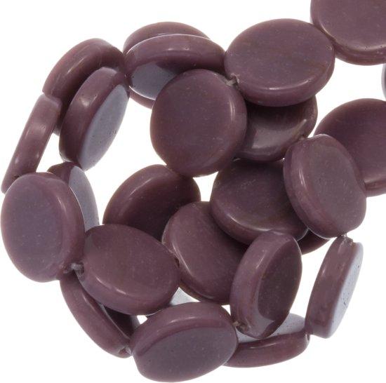 Glaskralen Flat (12 x 3.5 mm) Dark Purple (33 Stuks)