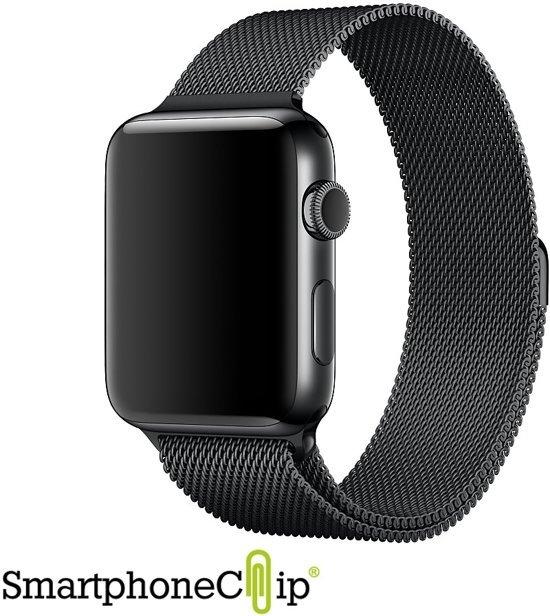 Milanees Apple Watch 1 en 2 bandje 42mm RVS - Zwart