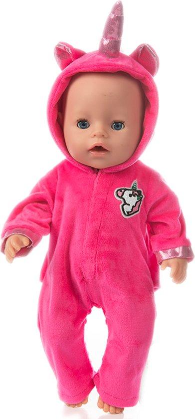Poppenkleding - Roze eenhoorn onesie voor poppen tot 43 cm oa Baby Born