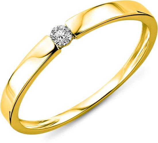 Majestine Ring - 9 Karaat Solitair (375) Met Diamant 0.05ct - Maat 56