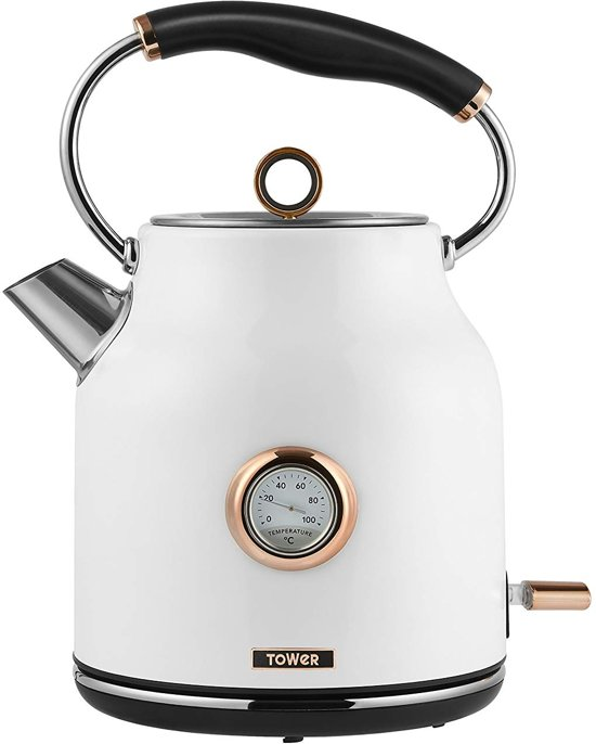 Tower Retro Waterkoker 1.7 Liter Bottega Rose Gold Wit