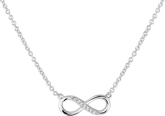 The Fashion Jewelry Collection Ketting Infinity Zirkonia 1,2 mm 41 + 4 cm - Zilver Gerhodineerd