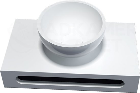 Solid Surface Waskom Rond met Solid Surface Planchet