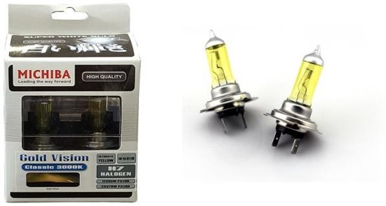 Lampenset h7 60 55w 12v goldvision yellow het for Gele lampen auto