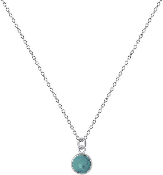 Lucardi - Zilveren ketting&hanger rond turquoise Bali