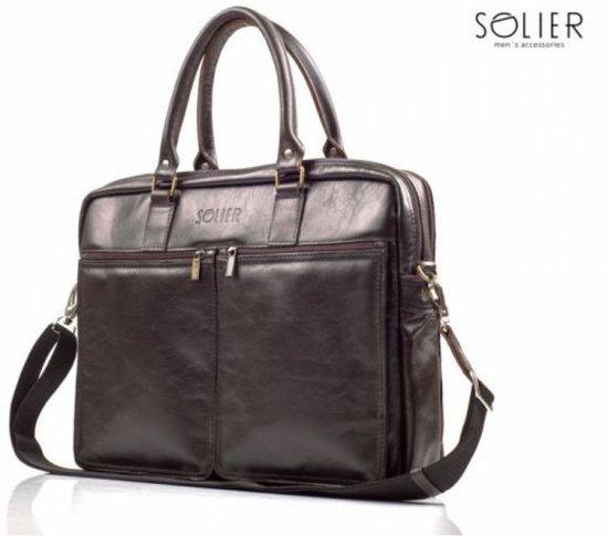 18d88ce5aa7 bol.com | Solier - laptoptas - aktetas - businesstas -Italiaans leer ...
