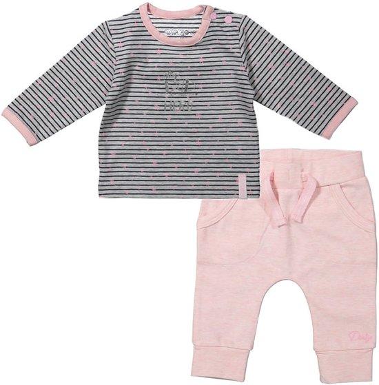 Dirkje Basics Meisjes Set (2delig) Shirt gestreept met Broek Lichtroze - Maat 44
