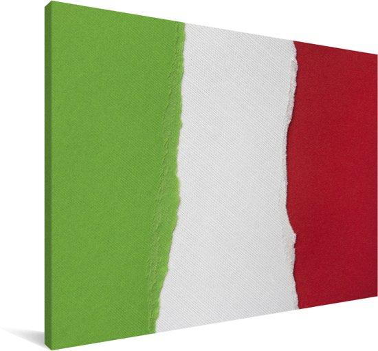 Geschilderde vlag van Italië Canvas 90x60 cm - Foto print op Canvas schilderij (Wanddecoratie woonkamer / slaapkamer)