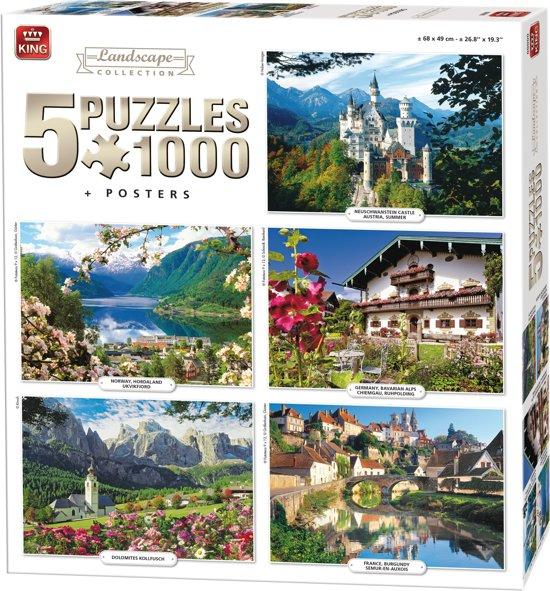 King 5 in 1 Puzzel 1000 Stukjes (68 x 49 cm) - Landschap Collectie - Vijf Legpuzzels met Voorbeeldposters - Volwassenen