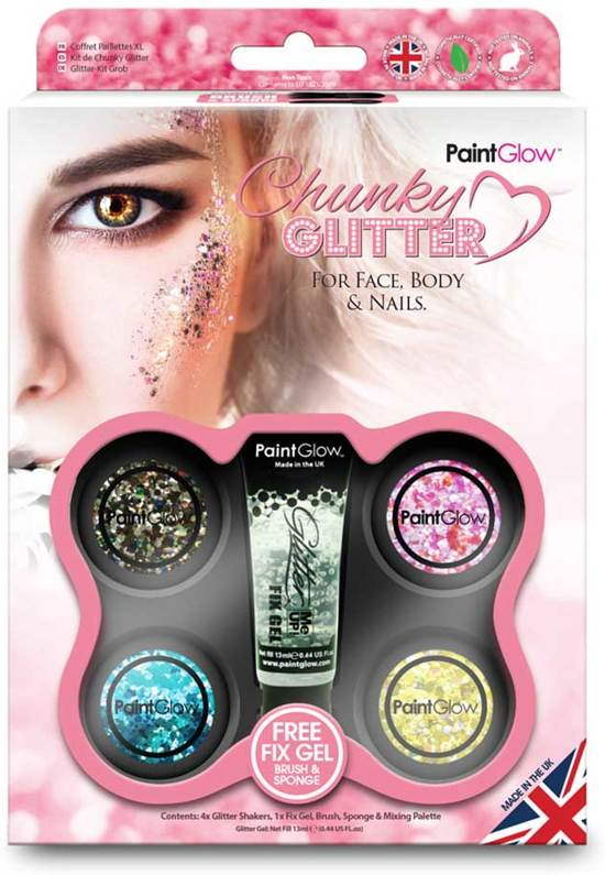 PaintGlow Chunky Cosmetic Glitter boxset multicolours
