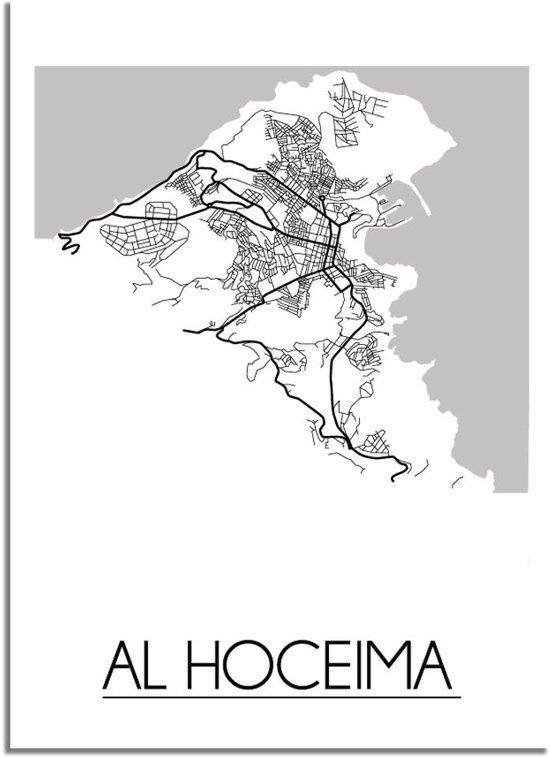 DesignClaud Al Hoceima Plattegrond poster A4 + Fotolijst wit