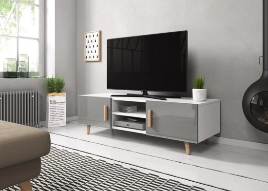Design Tv Meubel Hoogglans.Tv Kast Hoogglans Grijs Scandinavisch Design 2 Deurs 140x42x50 Cm