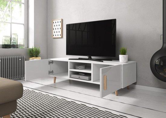 Tv Kast Hoogglans Grijs Scandinavisch Design 2 Deurs 140x42x50 Cm