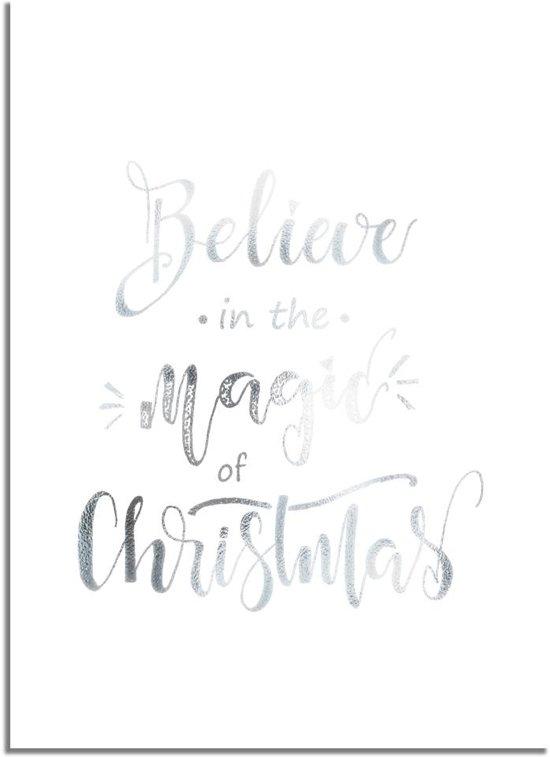 DesignClaud Kerstposter Believe in the magic of Christmas - Kerstdecoratie Zilver folie + wit A4 + Fotolijst wit