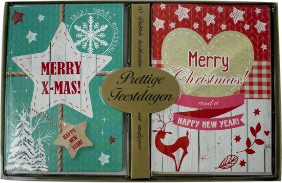 Bol Com Kerstkaarten Met Nieuwjaars Wens Merry X Mas 5x10 50 Kaarten