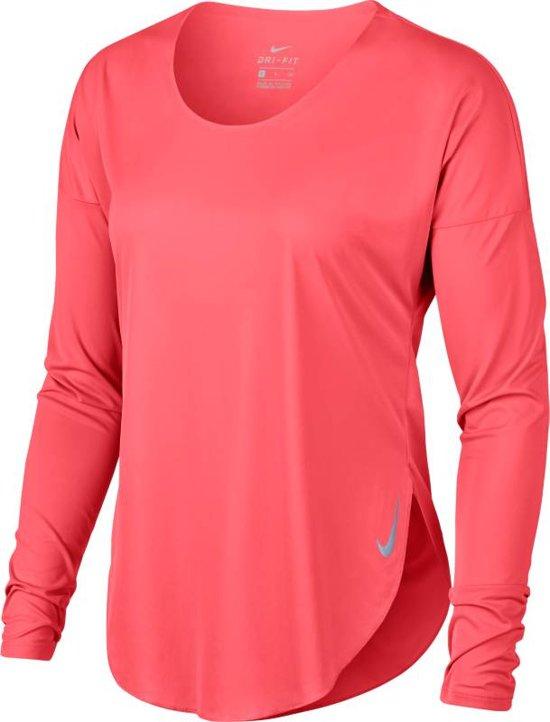 Nike City Sleek Top Ls Sporttrui Dames - Ember Glow/(Reflective Silv) - Maat M