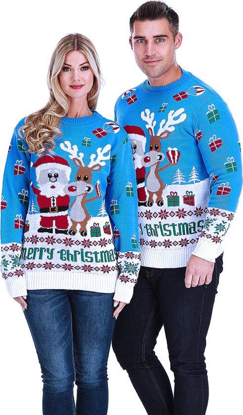 Kersttrui Kerstman.Bol Com Kersttrui Kerstman Rudolf Geven Cadeaus Maat M Speelgoed