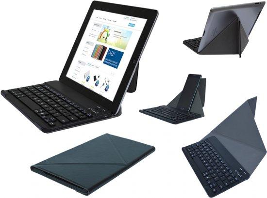 Slim Deluxe Bluetooth keyboard / toetsenbord met stand en beschermcase, oplaadbaar (voor o.a. tablet of smartphone), zwart , merk i12Cover