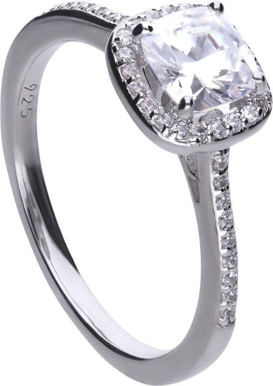 Diamonfire - Zilveren ring met steen Maat 17.0 - Vierkant - Rand zirkonia - Pav' bezet