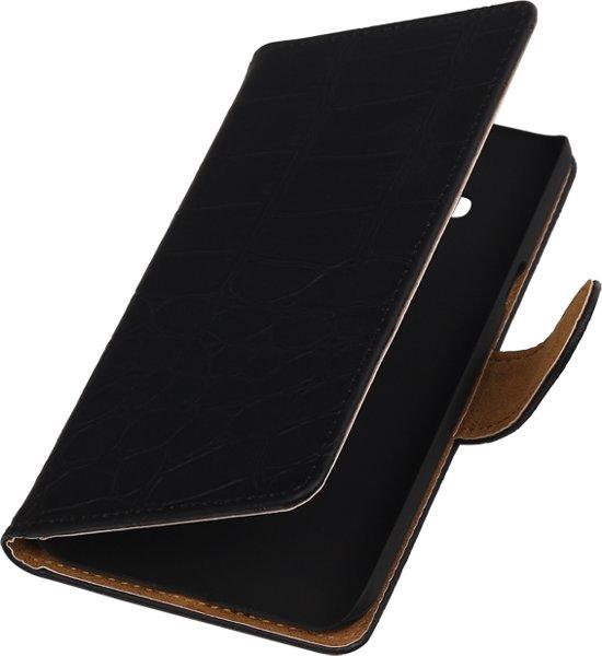 Alternate Bookcase Flip Wallet Cover Hoesje Sony Xperia M2 Zwart Croco in Leernes