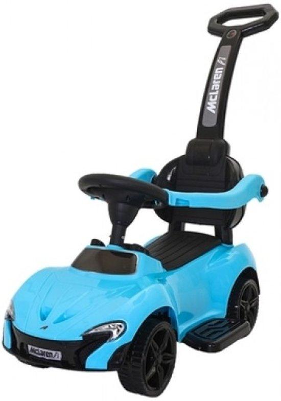 Bol Com Blauwe Loopauto Met Duwstang Babymix Speelgoed