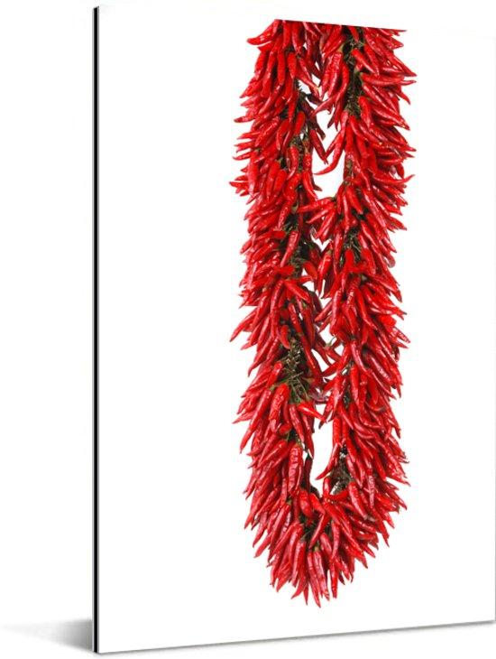 Een slinger van cayennepepers of Capsicum frutescens Aluminium 20x30 cm - klein - Foto print op Aluminium (metaal wanddecoratie)