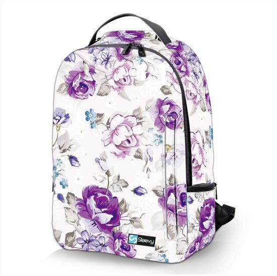 1fb03ef5938 Laptop rugzak 17,3 Deluxe paarse bloemen - Sleevy - schooltas - school  rugzak -