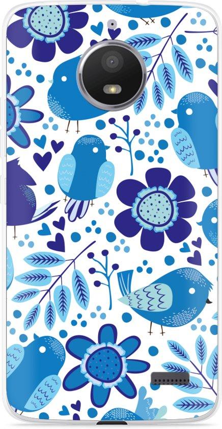Motorola Moto E4 Hoesje Blue Bird and Flowers